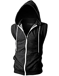 Mens Slim Fit Sleeveless Lightweight Zip-up Hooded Vest Zipper Trim