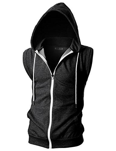 Black Mens Hooded Vest - Ohoo Mens Slim Fit Sleeveless Lightweight Zip-up Hooded Vest with Single Slide Zipper/DCF012-CHARCOAL-L