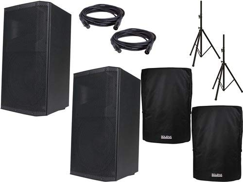 American Audio ATX-15W 15-Inch Powered Speaker Pair w/Stands & Covers