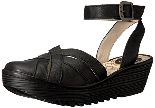 Fly London Womens Read731fly Sandalo Piatto Nero Mousse