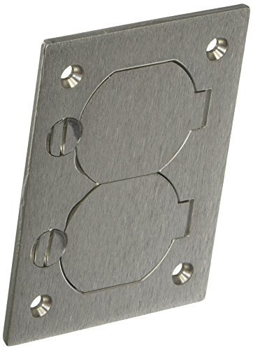 - Hubbell Wiring Systems SA3825 Aluminum Round Floor Box Rectangle Duplex Flap Cover, 4-5/32