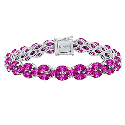 - Dazzlingrock Collection Marquise Lab Created Pink Sapphire Ladies Tennis Bracelet, Sterling Silver