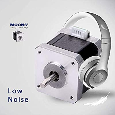 MOONS' NEMA17 Stepper Motor 3D printer 0.5Nm(71oz-in)1.5A2Phase 1.8 degree Stepper Motor 39.8mm(1.57in.) 1Stack Smooth Stepper Motor (Stepper Motor Cable00723 include, model MS17HD2P4150)
