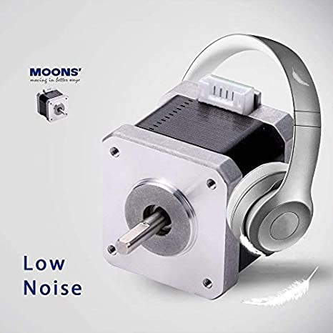 1.9in. 89oz-in MOONS NEMA17 Stepper Motor 3D printer 0.63Nm 2Stack Smooth Step Motor 2A 2Phase 1.8 degree Stepping Motor 48.3mm Cable00723 include, model MS17HD6P4200