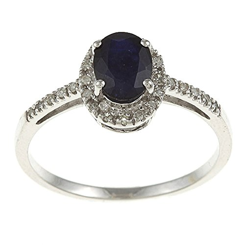 10k Rhodium-Plated White Gold Oval Blue Sapphire and Diamond Halo Ring