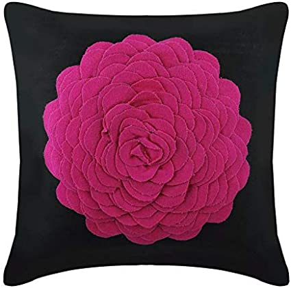 The Homecentric Designer Pink Decorative Pillowcases 16x16 Inch 40x40 Cm Suede Throw Pillows For Couch Nature Floral Rose Origami Modern Cushion Cover With Zipper Hot Pink Rose Home Kitchen Amazon Com