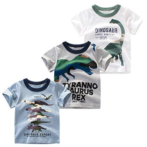Nuziku Boys' 3-Pack Dinosaur Short Sleeve Crewneck T-Shirts Top Tee Size 2-6 Years (Dinosaur Trex, ()