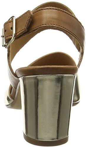 Gabor Obelisk - Sandalias de Tacones para Mujer Dorado - Gold (Platinum Metal/Brown Leather)