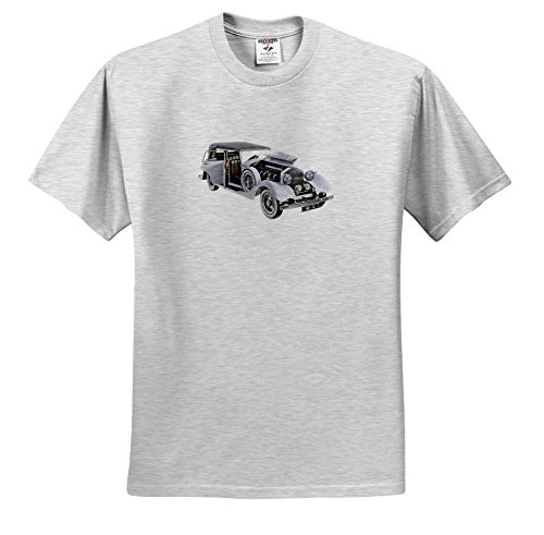 3dRose Boehm Graphics Car - Elegant Classic Car in White with Engine and Doors Open - T-Shirts - Youth Birch-Gray-T-Shirt Small(6-8) ()