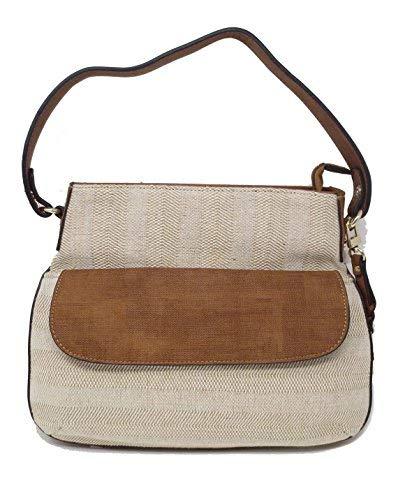 (Simply Noelle Antiqua Textured Canvas Satchel Handbag (Whiskey Multi Stripe))