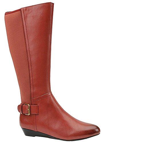 Rekke Kvinners Fred Lær Mandel Tå Kne High Fashion Støvler Røde