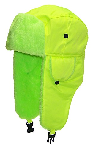 (Best Winter Hats Big Kids Lightweight Neon Russian/Trooper Faux Fur Hat(One Size)-Yellow)