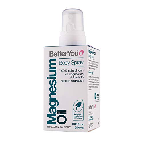 BetterYou Magnesium Body Spray | Pure, Clean and Natural Source Magnesium Chloride | Magnesium Spray | Vegan & Palm-Oil Free | One Bottle: 3.4 fl oz (600 sprays)
