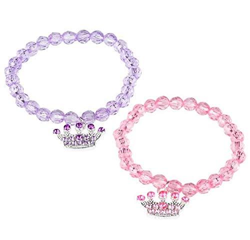 Rhode Island Novelty Princess Tiara Beaded Stretch Bracelets (12-Pack)