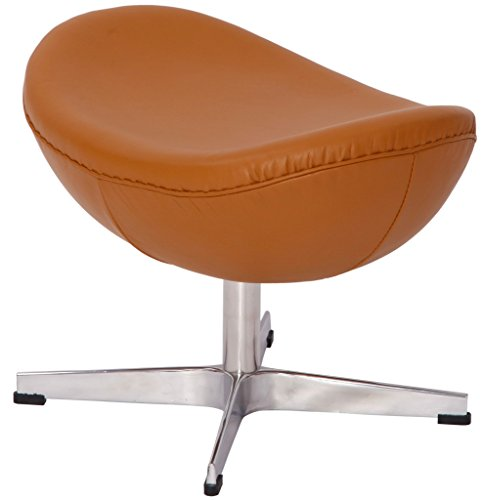 Emorden Furniture Arne Jacobsen Egg Chair's Ottoman(5 Colors). Imported Italian Leather and Hand Sewing. High Density Foam. 4 Star Satin Polished Aluminum Base. Fiberglass Inner Shell. (Light Brown)