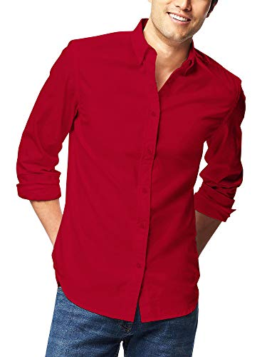 HB Men's Slim Fit Button Down Casual Long Sleeve Dress Shirt  - Medium / 15-15.5 - Red