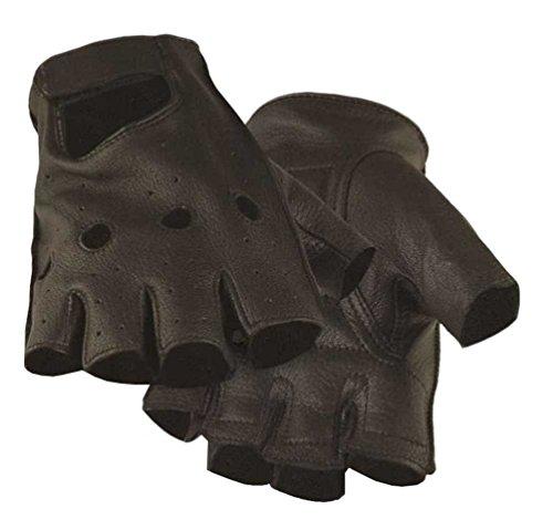 Northstar Mens Deerskin Motorcycle Glove Black (Unlined) Fingerless, Padded 031B