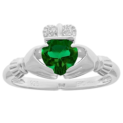 .57 Ct Heart Green Emerald and Diamond Accent 925 Sterling Silver Ring Sz 7