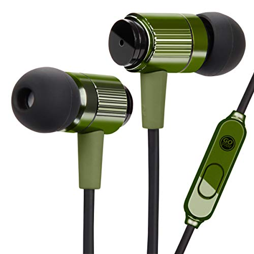 GOgroove AudiOHM RNF Durable Wired Earbuds - Heavy Duty Headphones with Aramid Fiber Reinforced Cable, In-Line Microphone, In-Ear Noise Isolation, & Rugged Metal Driver Housing (Green)