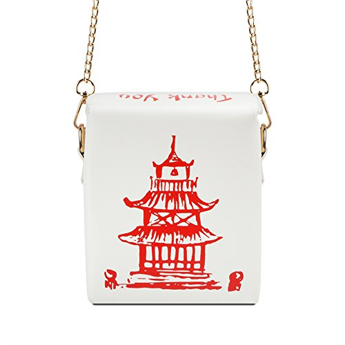 Fashion Crossbody Bag, Ustyle Chinese Takeout Box Style Clutch Bag Cellphone Container Tiny Satchel Funny and Unique Shoulder Bag Birthday Gift Card Case Fashionable Bag costume for teens (White) (Purse Box)