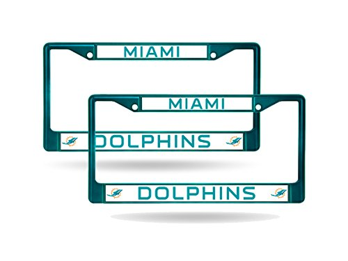 Miami Dolphins Aqua Painted Chrome Metal (2) License Plate Frame (Painted Dolphin)