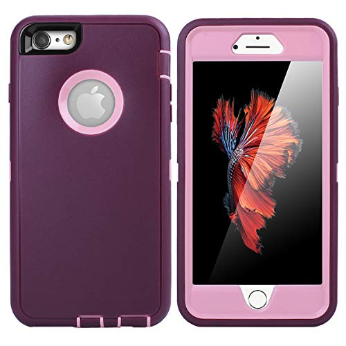 iPhone 6 Plus Case,iPhone 6S Plus Case [Heavy Duty] AICase Built-in Screen Protector Tough 4 in 1 Rugged Shockproof Cover for Apple iPhone 6 Plus / 6S Plus (Pink/Purple) (Iphone Purple 6 Otterbox Plus)