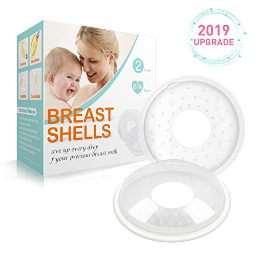 Breast Shells, Milk Saver for Breastfeeding - 2 Pack, Soft Nipple Shells, Nursing Cups to Protect Cracked, Sore, Engorged Nipples & Collect Breast Milk Leaks ()