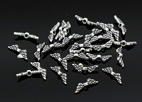 15 Pcs Winged Heart Beads Spacer Beads Antique Silver Tone - B68 ()