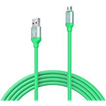 SyncTech Premium Rubber Tangle Free 3 Feet Micro USB Cable Durable High Speed Syncing Charging for Android, Samsung, Kindle, Windows, Controllers, Tablets, etc. (1.) Green)