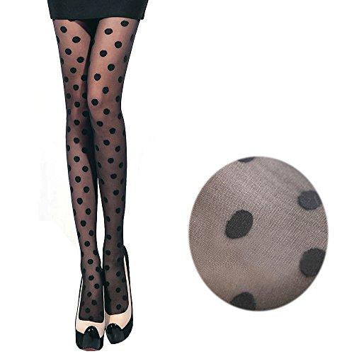 2 Pairs Women Girl Retro 15 Denier Sheer Look Slim Pantyhose Tights Stockings Socks Hosiery (Dot)