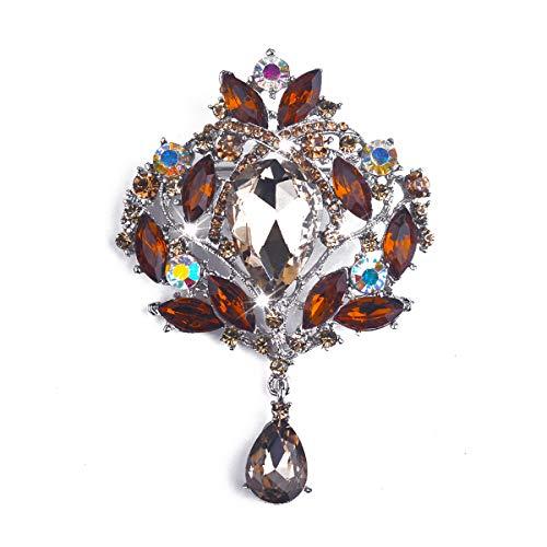 Yilanair Wedding Bridal Big Crystal Rhinestone Bouquet Brooch Pin for Women ()