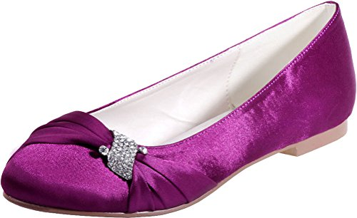 Slip 22 Vimedea Toe Bride Purple Round Satin On Wedding Flat Satinmps Purple 9872 Womens x8pxfqwg