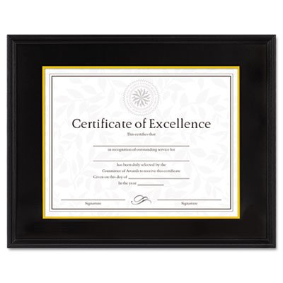 - Hardwood Document/Certificate Frame w/Mat, 11 x 14, 8 1/2 x 11, Black, Sold as 1 Each