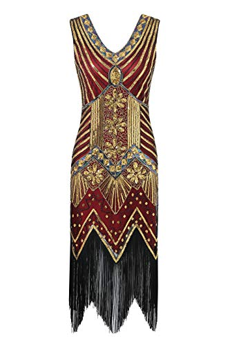 Metme Women's 1920s V Neck Beaded Fringed Gatsby Theme Flapper Dress for Prom ()