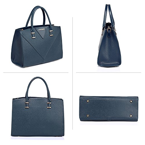 Navy Use New Handbags Daily Office Leather Womens Gives Designer Gorgeous Look Ladies Faux Bags Shoulder you Large Look Design College 1 xq8wXROf