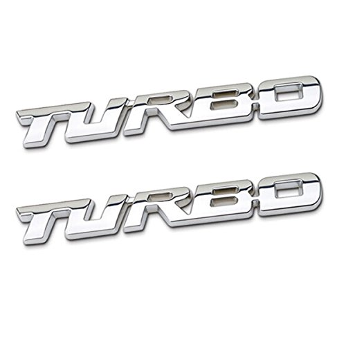 TK-KLZ 2Pcs 3D Metal TURBO Premium Car Side Fender Rear Trunk Emblem Badge Decals for JEEP BMW Dodge Mercedes Benz Chrysler Toyota Honda Nissan Kia Hyundai Chevrolet Ford (Silver) (Ls4 Emblem)