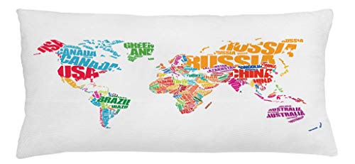 Ambesonne World Map Throw Pillow Cushion Cover, World Map with Names of The Countries Europe America Africa Asia Graphic Style, Decorative Square Accent Pillow Case, 36 X 16 Inches, Multicolor by Ambesonne