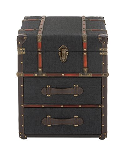 Deco 79 55787 Traditional Fabric-Covered Wooden Trunk-Style End Table 22