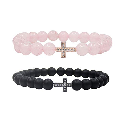 UEUC Couple Distance Bracelet Crystal Sideways Cross His Hers 8mm Bead Charm Adjustable Bangle Bracelets ()
