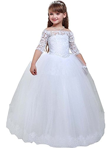 KKbridal White Flower Girl Dresses Lace Appliques Off The Shoulder Ball Gown First Communion Dresses KK0004 Child 6 White