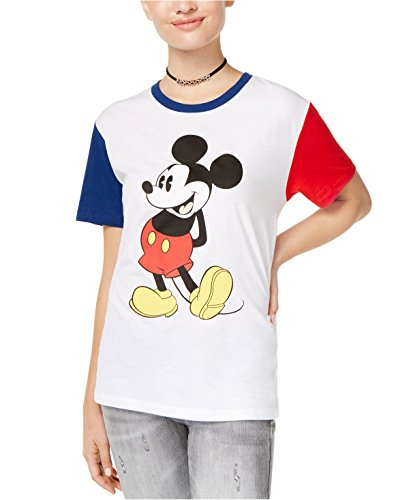 Mickey Mouse Disney Icon Pose Juniors' Contrast Graphic T-Shirt - Icons Super Junior