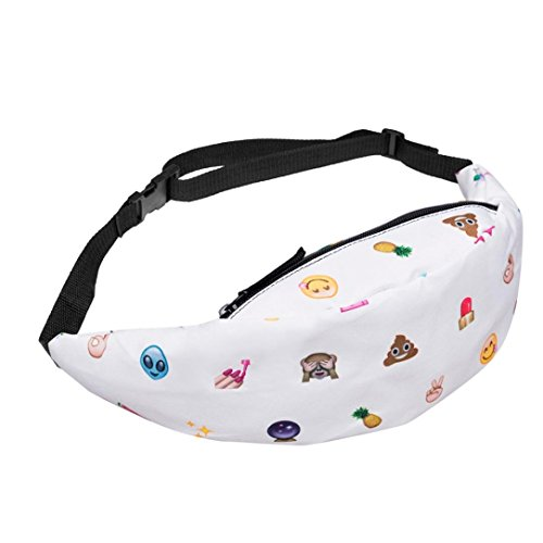 Price comparison product image Outsta Sports Hiking Waist Bag, Fashion Running Belt Pouch Zip Fanny Pack Waterproof Casual Daypack Mulitcolor (White158)