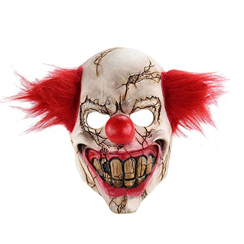 Liobaba Halloween mask Scary Clown Latex Full mask Cosplay Terrifying Masquerade mask Ghost Evening ()