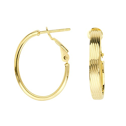 14kt Yellow Gold Oval Ribbed Hoop Earrings with Omega Backs