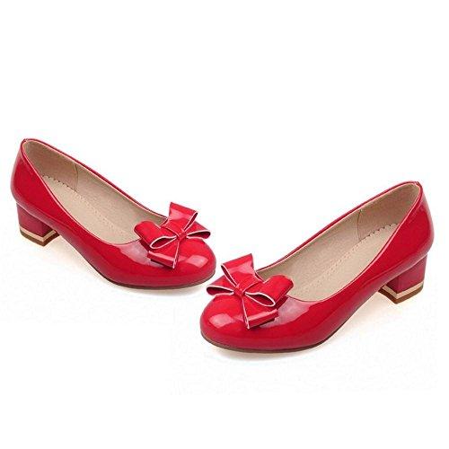 AicciAizzi Femmes Mode Talons Bloc Escarpins Chaussures Red blmLhmFob