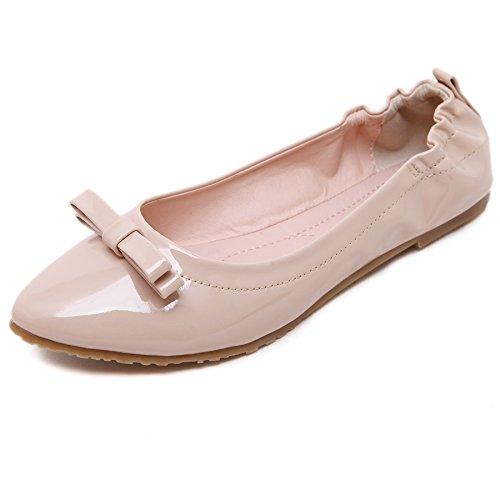 Enllerviid Donna Classica Punta A Punta Casual Solido Balletto Di Pianura Comfort Morbido Slip On Flats Scarpe Beige