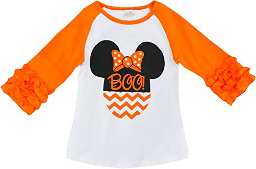 Boutique Clothing Halloween Disney Minnie Mouse Boo Orange Raglan T-Shirt 12-18M/2XS