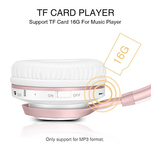 Wireless Headphones, HiFi Stereo Bluetooth Headphones with Mic, Lightweight Foldable Headset, Soft Protein Earmuffs, Support TF Card And FM Radio Wired Mode for PC Cellphone TV Girls Women (Rose Gold) by Picun (Image #3)