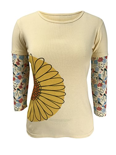 Green 3 Daisy Flower Long Sleeve 2 in 1 Tee (Light Yellow) - 100% Organic Cotton Womens T Shirt, Made in The USA - Organic Tee 100% Cotton