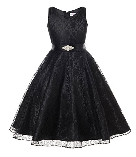 DressForLess Lovely Lace V-Neck Flower Girl Dress (Black, 6)]()